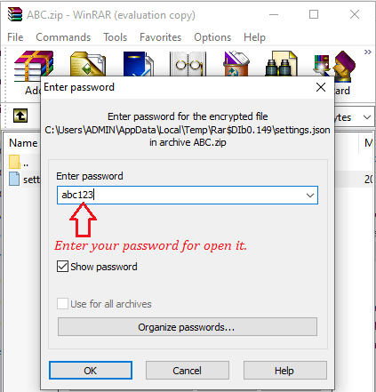 open-your-file to enter your password