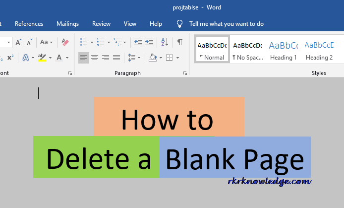 How to delete a blank page in ms word.