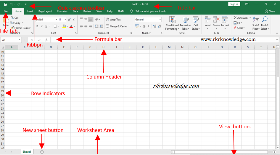 Elements of Excel